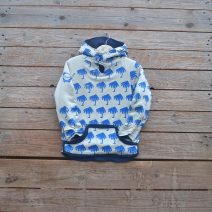 Kid's reversible hoody in petrol/natural