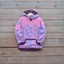Kid's reversible hoody in plum/candy pink