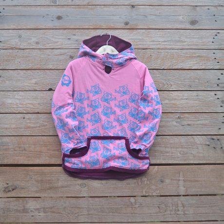 Kid's reversible hoody in plum/candy pink