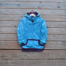 Kid's reversible hoody in plum/turquoise