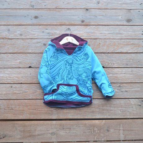Kid's reversible in plum/turquoise