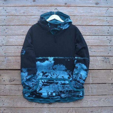 Men's reversible hoody in teal/black