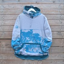 Men's reversible hoody in teal/marl grey