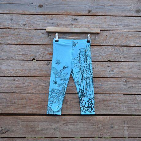 Kid's printed leggings in turquoise/brown