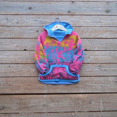 Kid's reversible hoody in turquoise/cerise