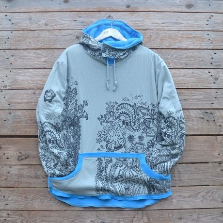 Men's reversible hoody in turquoise/light grey