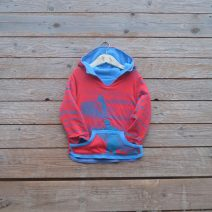 Kid's reversible hoody in turquoise/red