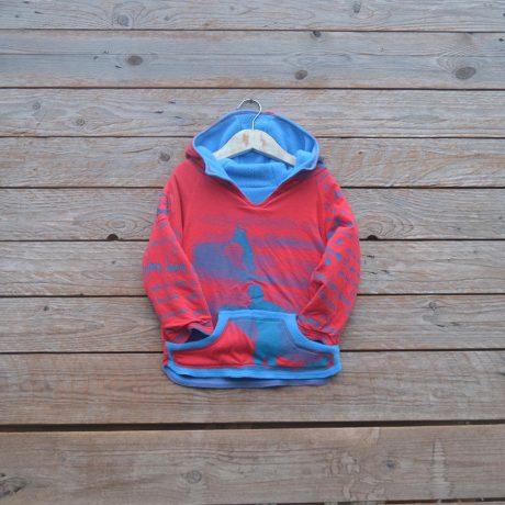 Kid's reversible hoody in turquoise/red