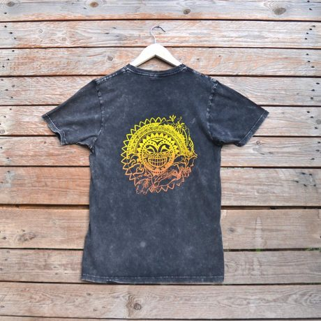 Tiki sun distressed black organic t-shirt