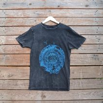 Distressed t-shirt with beach clean design in teal ink