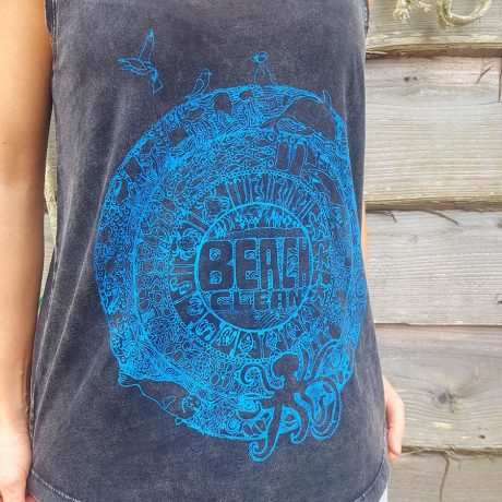 Distressed black vest with beach clean design in teal