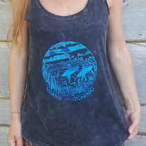 Racerback vest in distressed black with teal ink