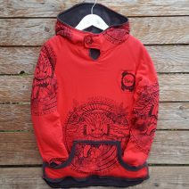 Kid's reversible hoody in dark grey-red