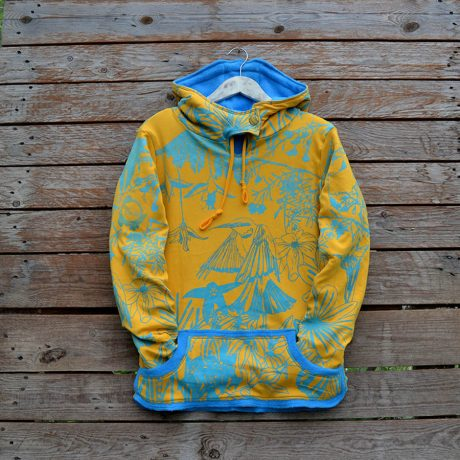 Women's reversible hoody in turquoise/amber