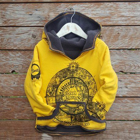 Kid's reversible hoody in dark grey/amber