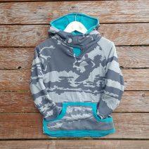 Kid's reversible hoody in jade/light grey - front