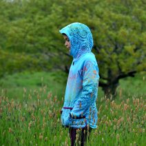 Kid's reversible hoody in turquoise/plum