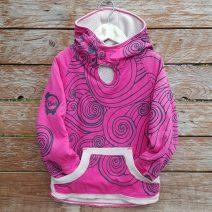Kid's reversible hoody in natural/cerise