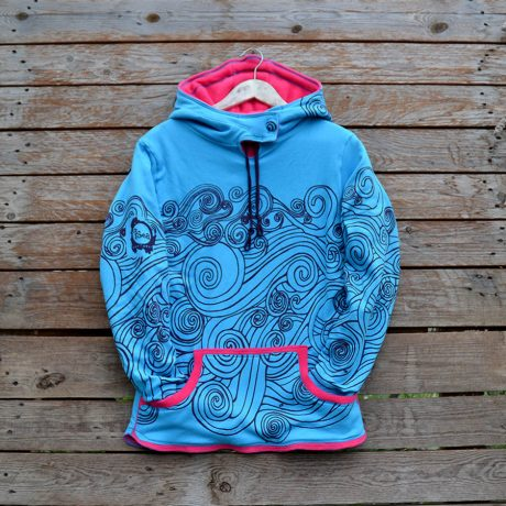 Women's reversible hoody in pink/turquoise