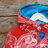 Kid's reversible hoody in turquoise/red - close up