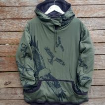Men's reversible hoody in olive/dark grey