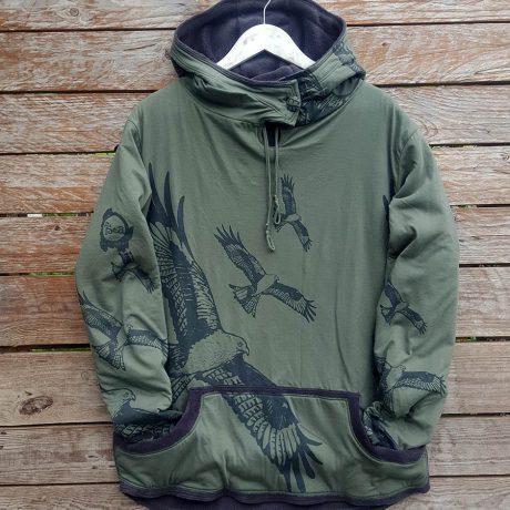 Men's reversible hoody in olive/dark grey