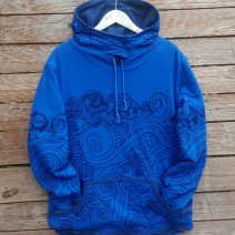 Men's reversible hoody in petrol/royal
