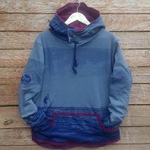 Men's reversible hoody in plum/dark grey