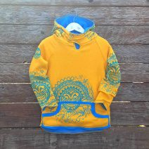 Kid's reversible hoody in turquoise/amber - front