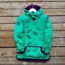Kid's reversible hoody in plum/emerald - front