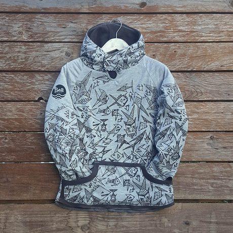 Kid's reversible hoody in dark grey/marl grey - front