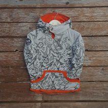 Kid's reversible hoody in orange/marl grey - front