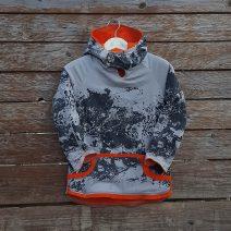 Kid's reversible hoody in orange/light grey - front