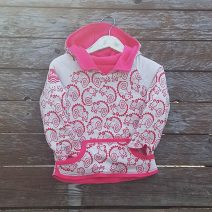 Kid's reversible hoody in sugar pink/natural - front