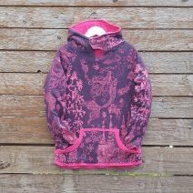 Kid's reversible hoody in pink/plum