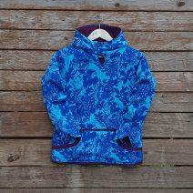 Kid's reversible hoody in plum/turquoise