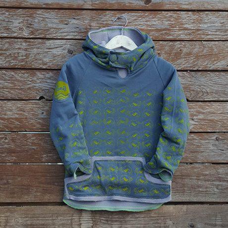 Kid's reversible hoody in light grey /dark grey - front