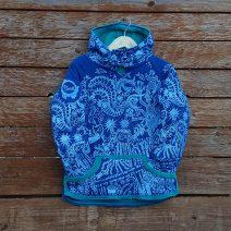 Kid's reversible hoody in jade/royal - front