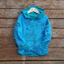 Kid's reversible hoody in jade/turquoise - front