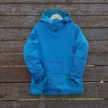 Kid's reversible hoody in jade/turquoise