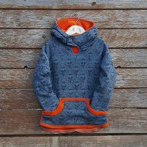 Kid's reversible hoody in orange/dark grey - front