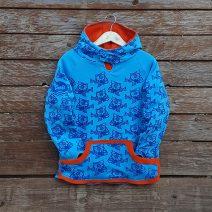 Kid's reversible hoody in orange/turquoise - front