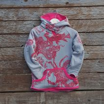 Kid's reversible hoody in sugar pink/light grey - front