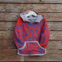 Kid's reversible hoody in light grey/red - front
