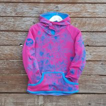 Kid's reversible hoody in turquoise/cerise - front