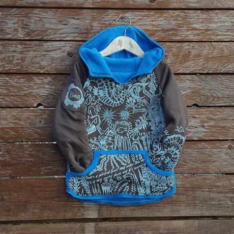 Kid's reversible hoody in turquoise/mocha