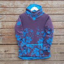 Kid's reversible hoody in turquoise/plum