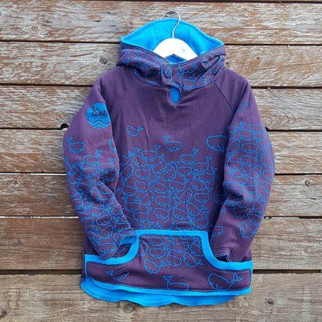 Kid's reversible hoody in turquoise/plum - front