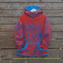 Kid's reversible hoody in turquoise/red - front