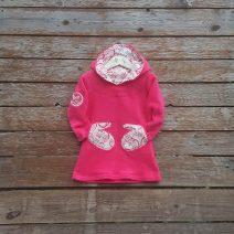 Girl's hoody dress in sugar pink/natural